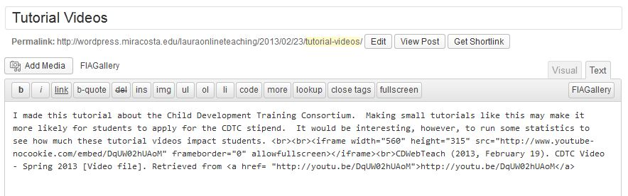 Screenshot of WordPress post html code including embed code for a YouTube video.