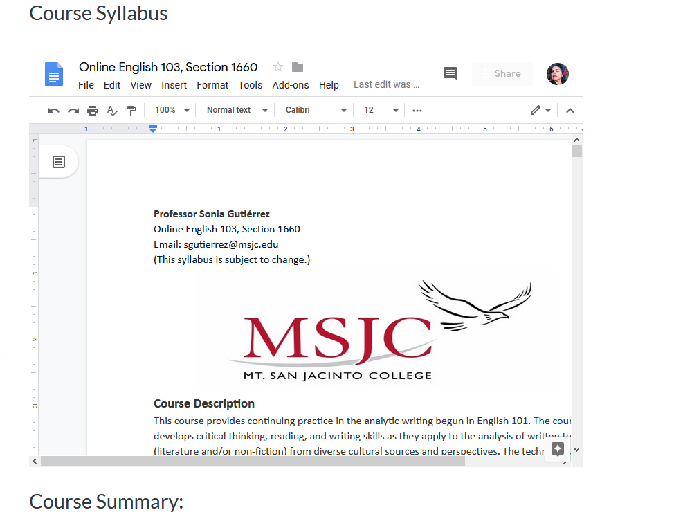 English 103 Syllabus. All my classes now embed a Google.docs syllabus.